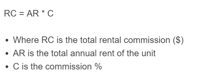 rental commission formula