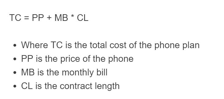 cell phone plan formula