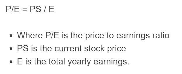 price to earnings ratio formula