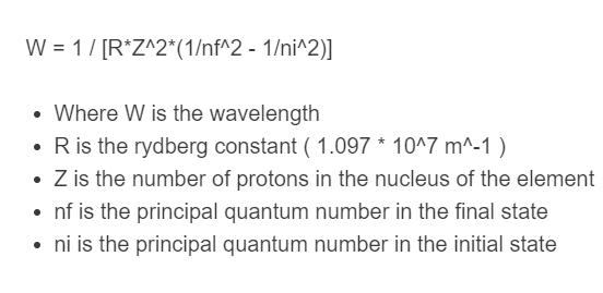 rydberg equation formula