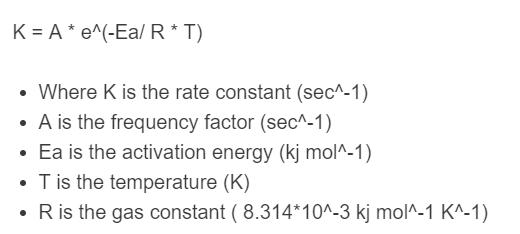 arhenius equation formula