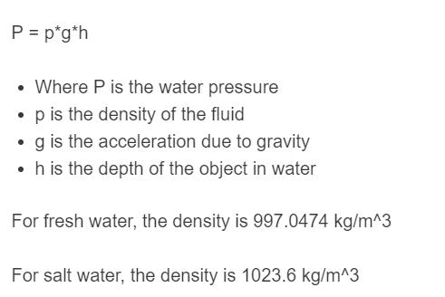 water pressure formula