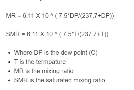 mixing ratio formula