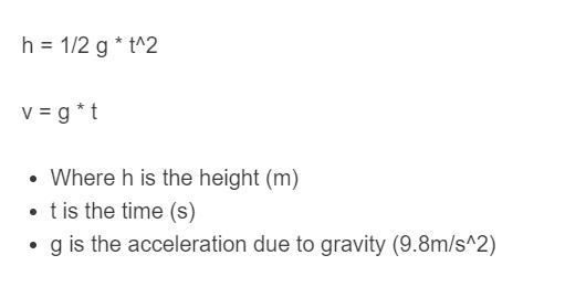 free fall velocity formula