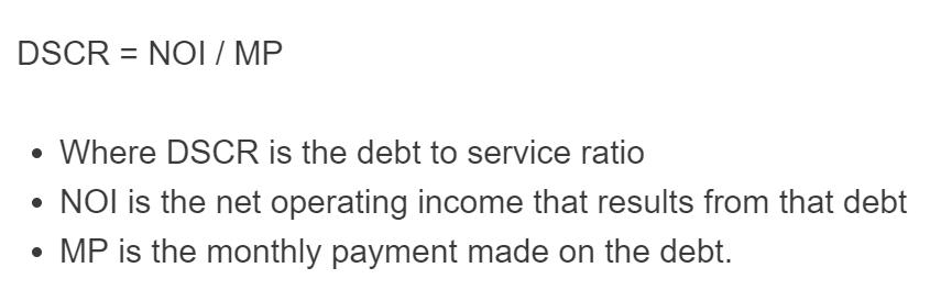 debt to service ratio formula