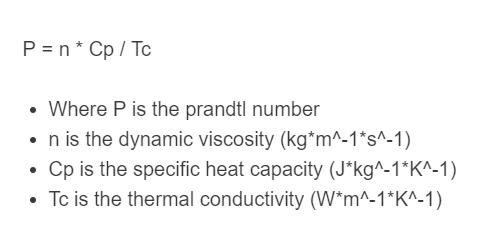 prandtl number formula