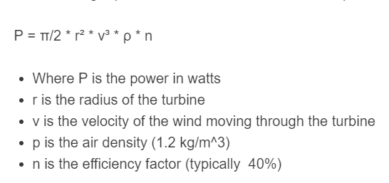 wind power turbine formula