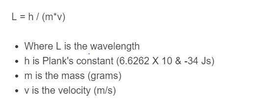 De Broglie Wavelength Formula