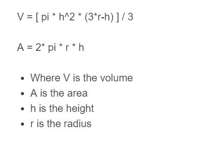 spherical cap formula