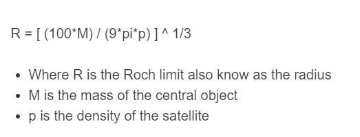 roche limit formula