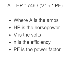 hp to amps formula