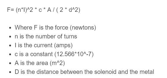solenoid force formula