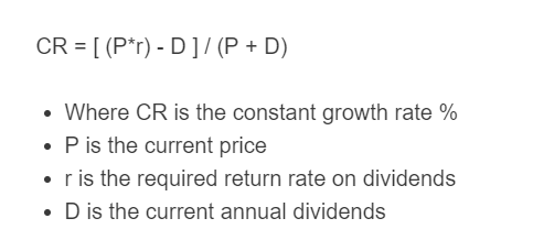 constant growth rate formula