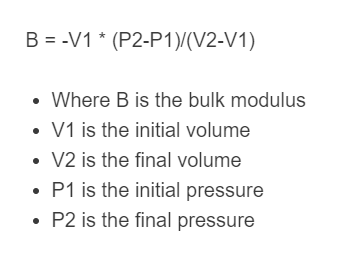 bulk modulus formula