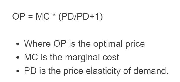 optimal price formula