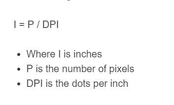 pixels to inches formula