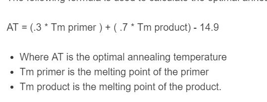annealing temperature formula