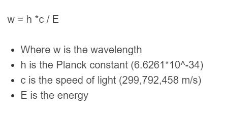 energy to wavelength formula
