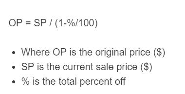 original price formula