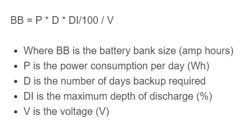 solar battery bank formula
