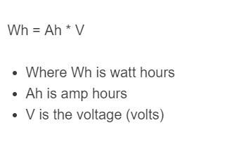 amp hour to watt formula