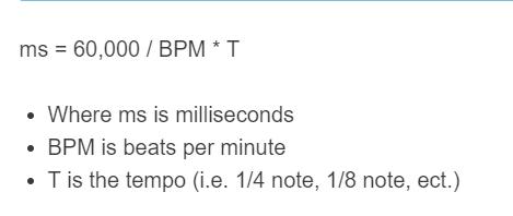 bpm to ms formula