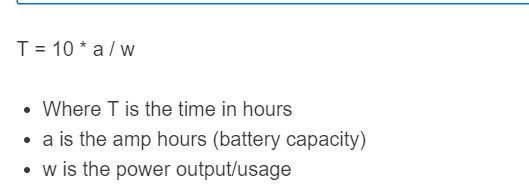battery run time formula