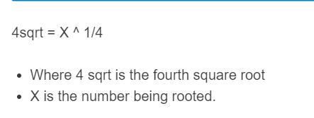 fourth root formula