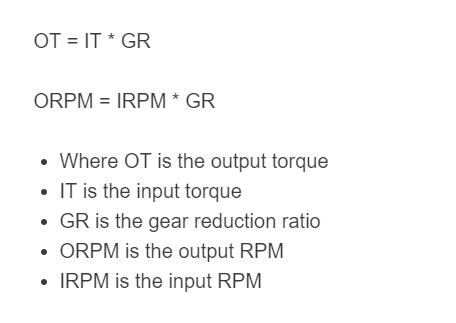 gear reduction formula