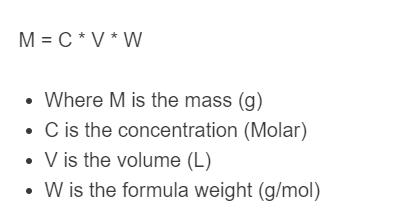 mass molarity formula