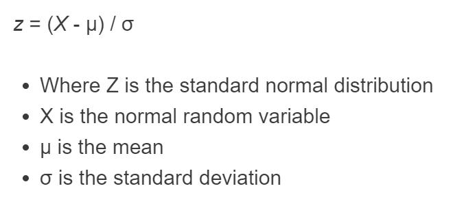 standard normal distribution formula