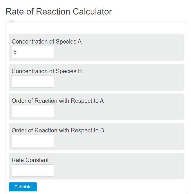 rate of reaction calculator