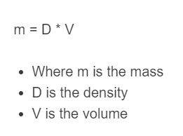 density to mass formula