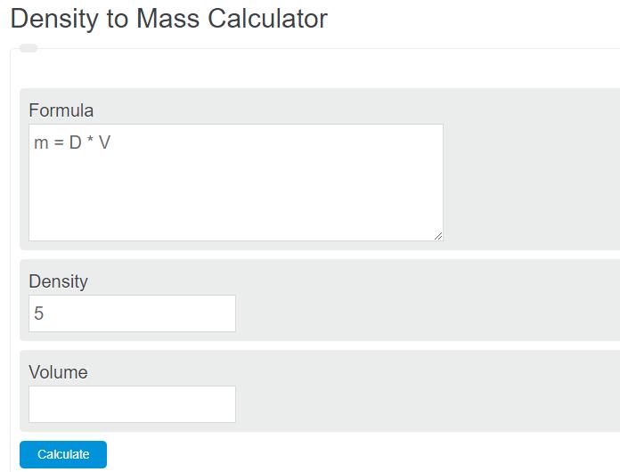 density to mass calculator