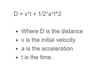 acceleration to distance formula