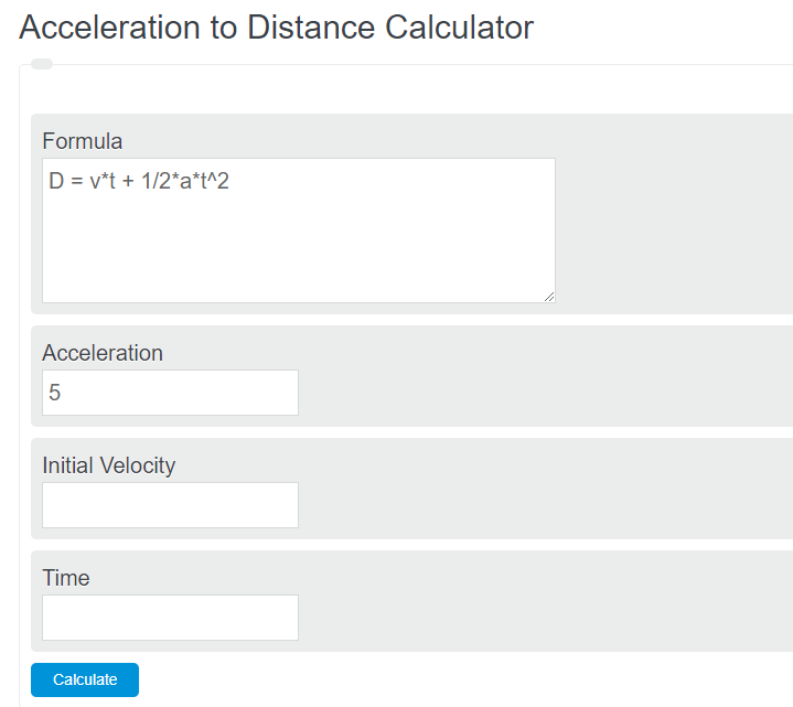 acceleration to distance calculator