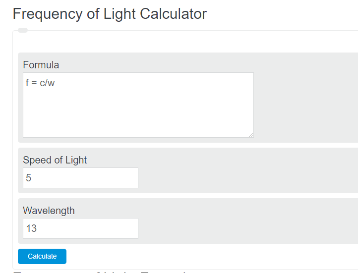 frequency of light calculator