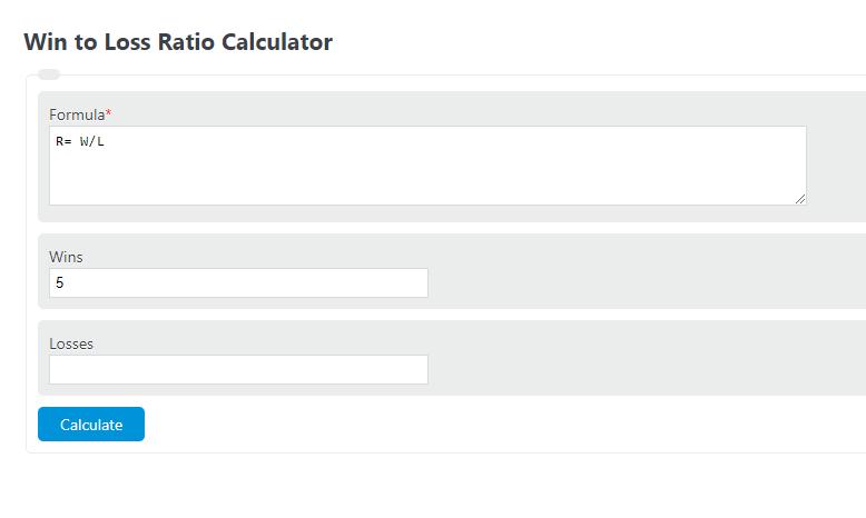 win to loss ratio calculator