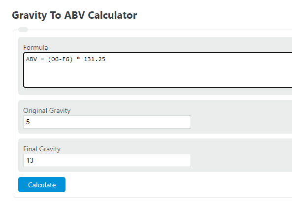 gravity to ABV calculator