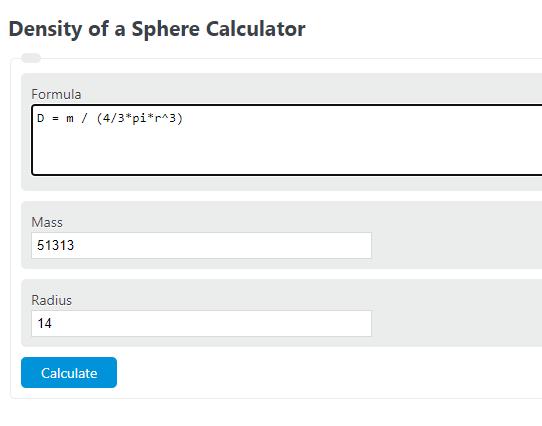 density of sphere calculator