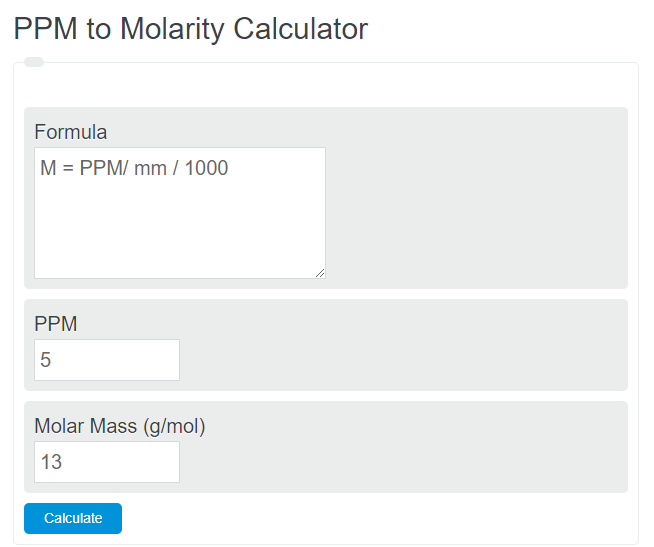 PPM to molarity calculator