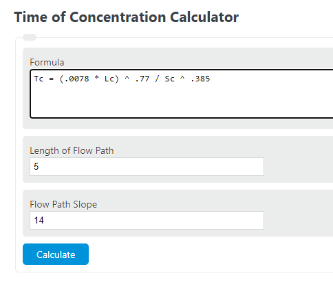 time of concentration calculator