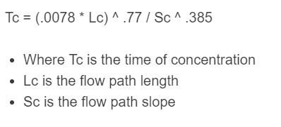 time of concentration formula