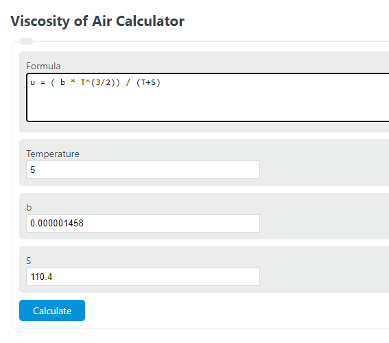 viscosity of air calculator