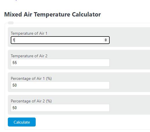 mixed air temperature calculator