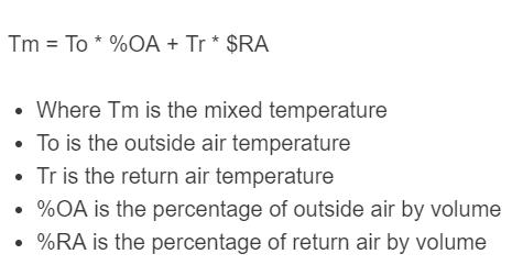 mixed air temperature formula
