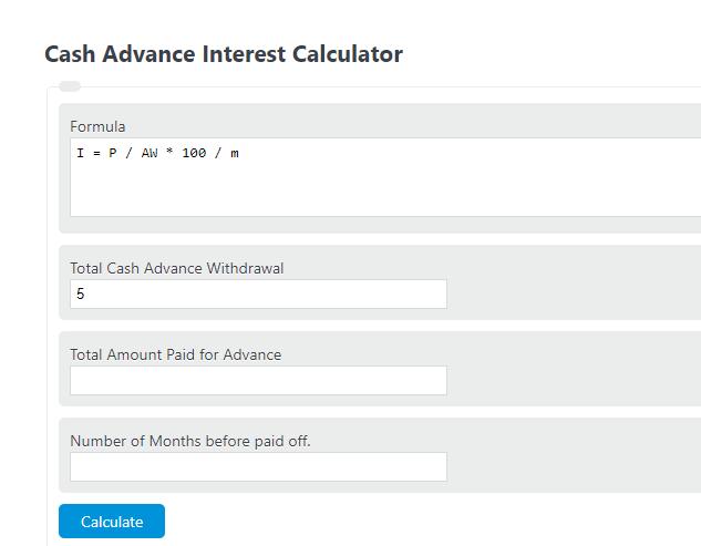 cash advance interest calculator