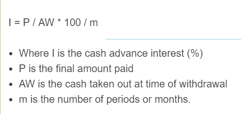 cash advance interest formula