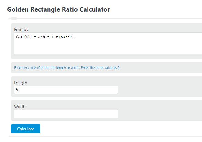 golden rectangle ratio calculator