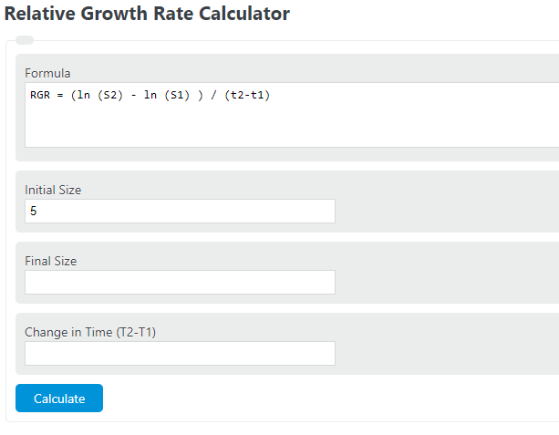 relative growth rate calculator